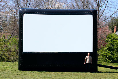 AIRSCREEN classic 20ft x 11.25ft or 6.10m x 3.43m (airtight version also available in this size) - ideal for up to 200 viewers, recommended projector: OPTOMA EH500