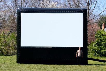 AIRSCREEN classic 6,10m x 3,43m - ideal für 150 - 250 Zuschauer - empfohlener Projektor: 4.700 - 6.000 ANSI Lumen