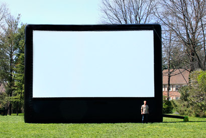 AIRSCREEN classic 30ft x 17ft or 9.15m x 5.15m - ideal for up to 800 viewers, recommended projector: OPTOMA EH7700